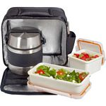 Nomad Thermo Insulated Lunch Bag with 700 ml Flask and 2 Food Containers (Valira 6062/88)